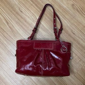 Coach East West Patent Leather Tote EUC